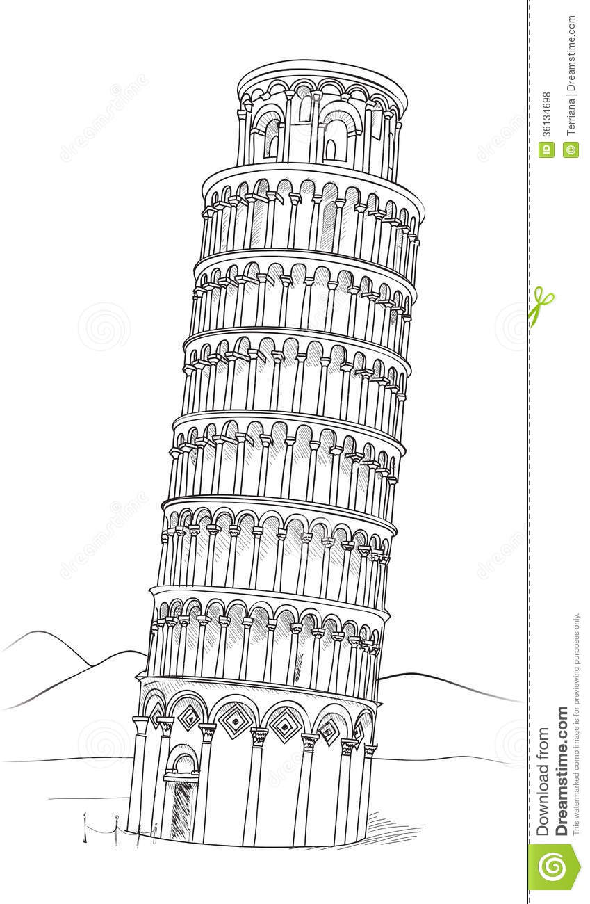 Tower Of Pisa Hand Drawn Illustration Leaning Tower Of Pisa Tuscany Italy Stock Illustration