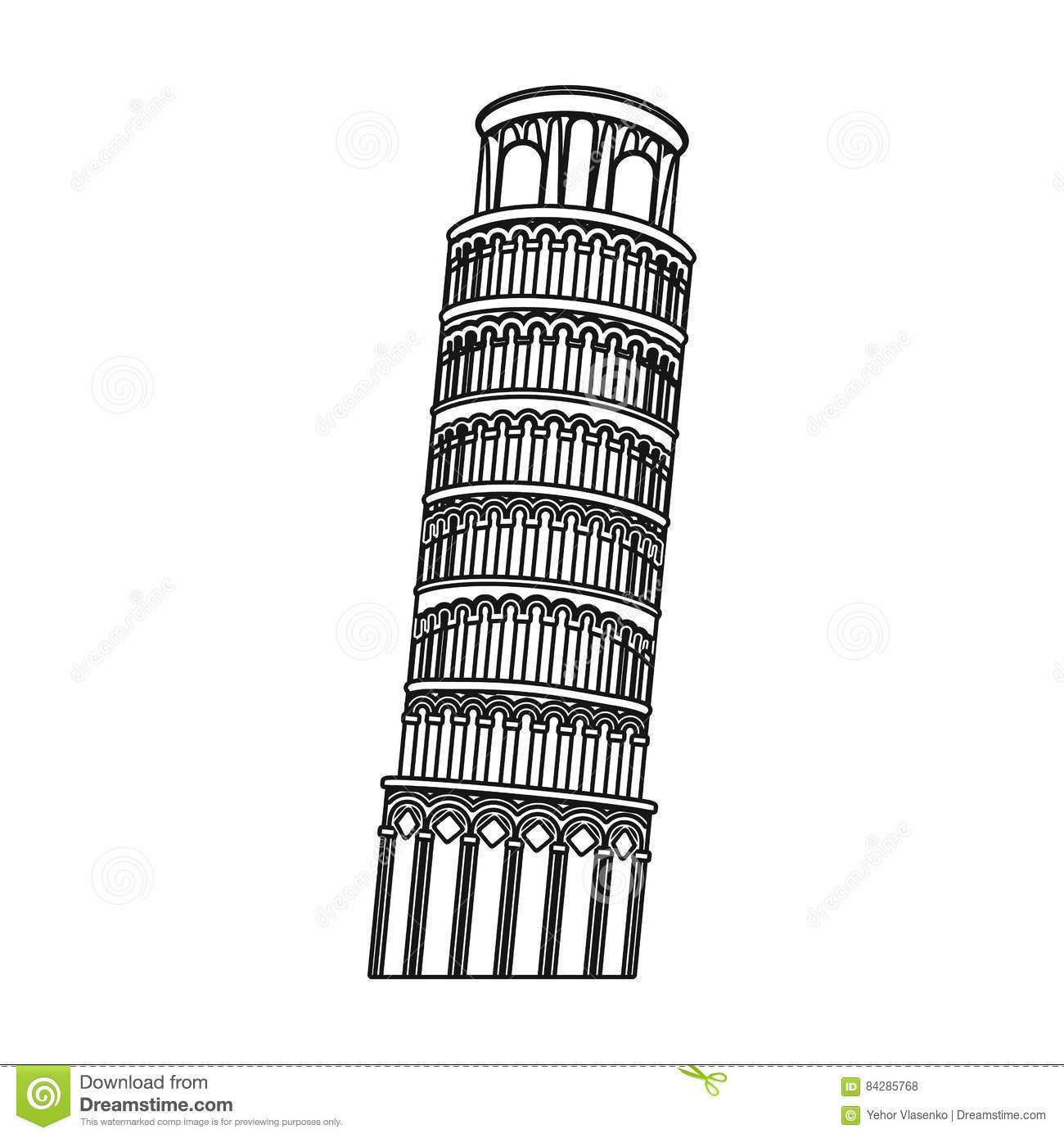Tower of pisa in italy icon in outline style isolated on white background co - Lego architecture tour de pise ...