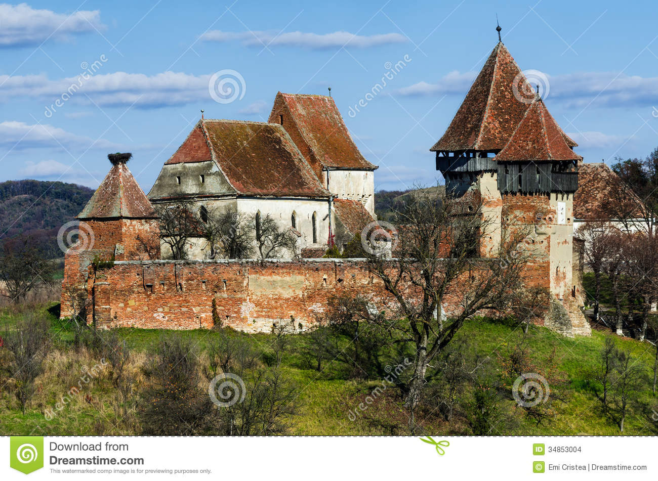Tower and walls of fortified church alma vii transylvania roma stock images image 34853004 - Saxon style houses in transylvania ...