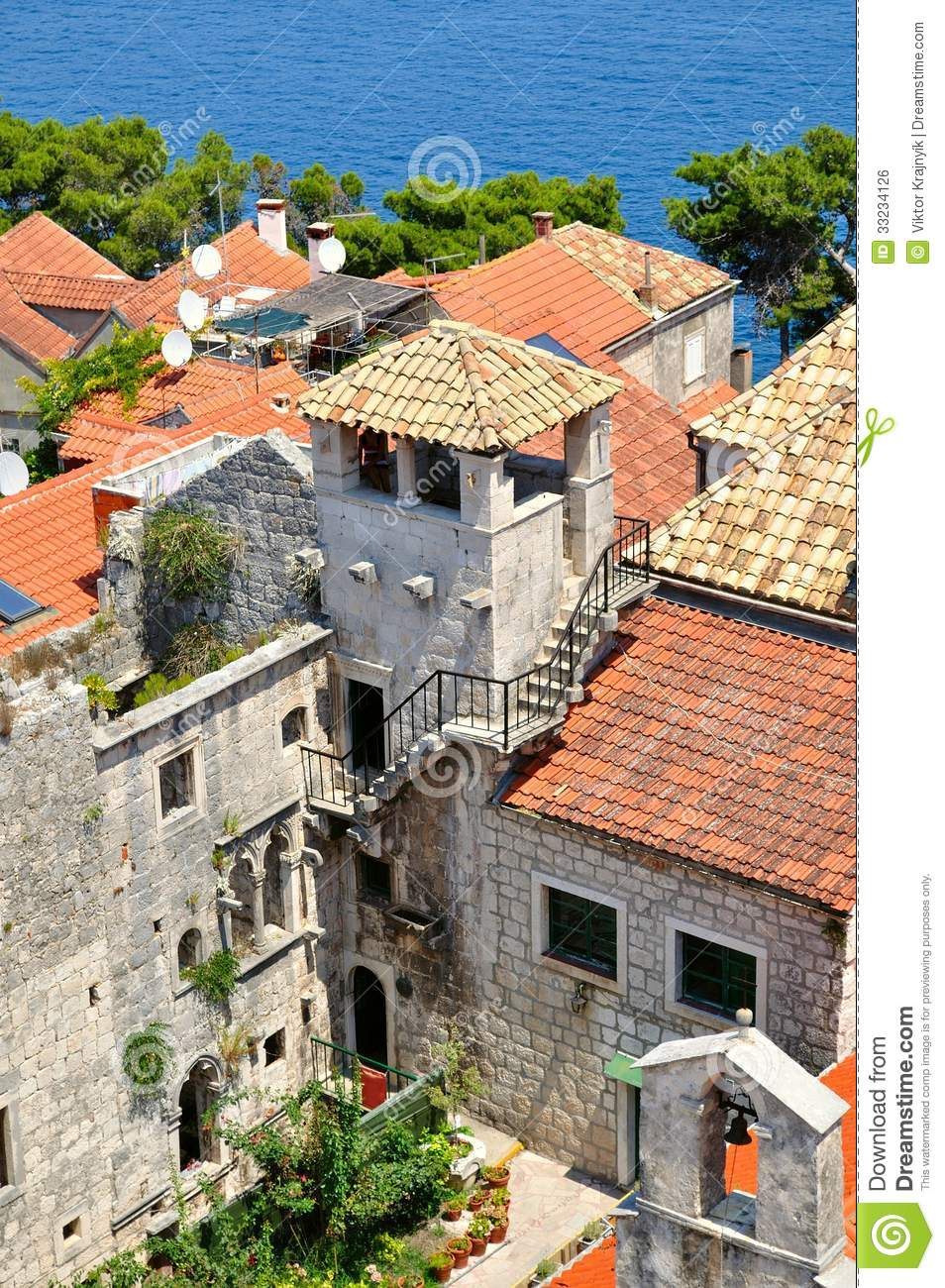 tower which was part of marco polo 39 s home korcula croatia stock photo image of building. Black Bedroom Furniture Sets. Home Design Ideas