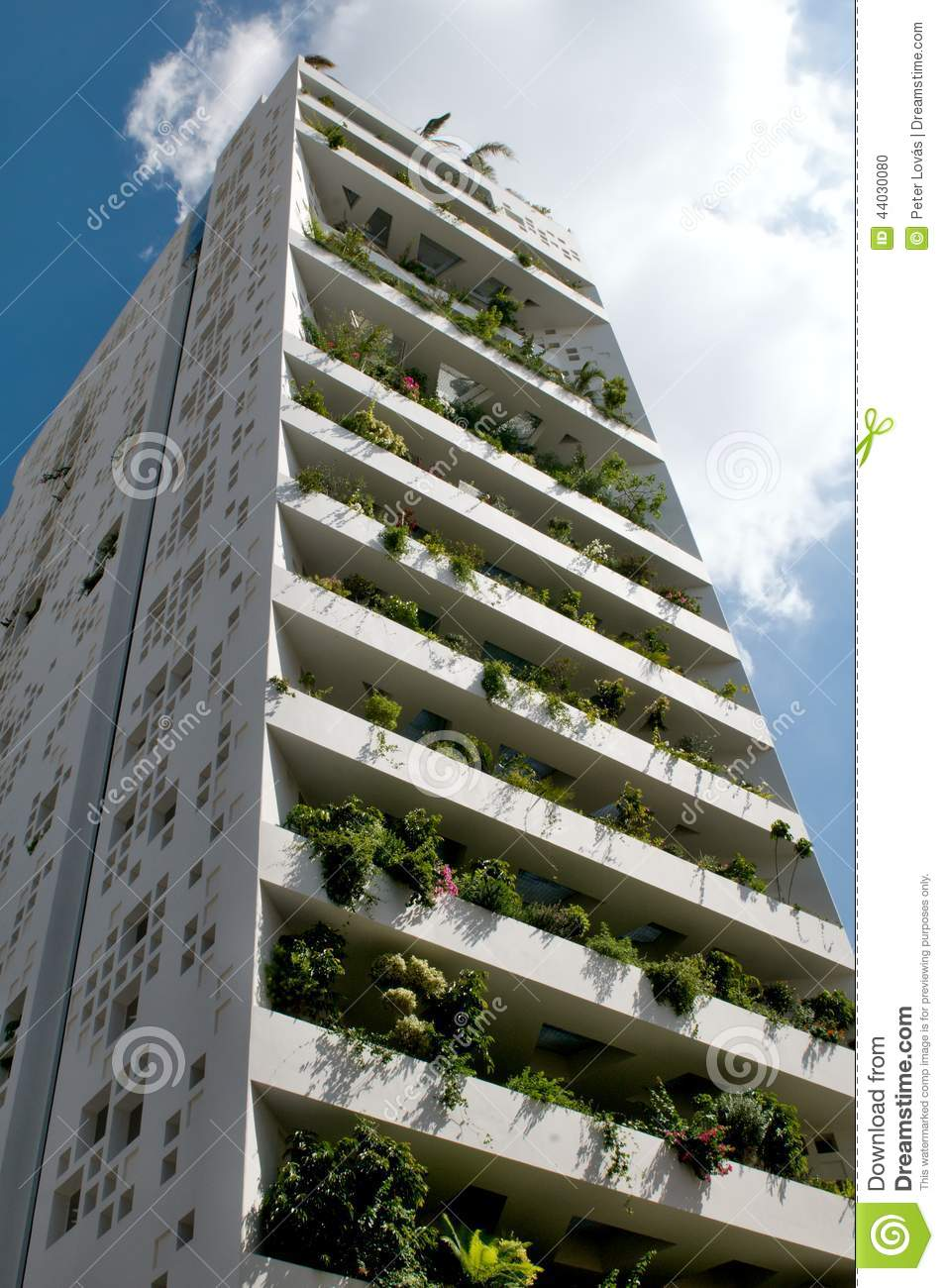 tower 25 white green balcony in nicosia editorial image