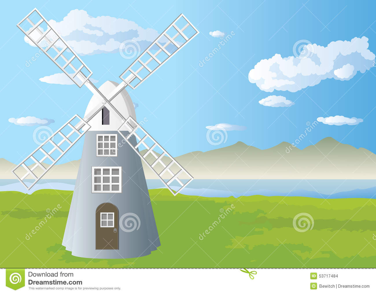 Tower Windmill In The Field Stock Photo - Image: 53717484