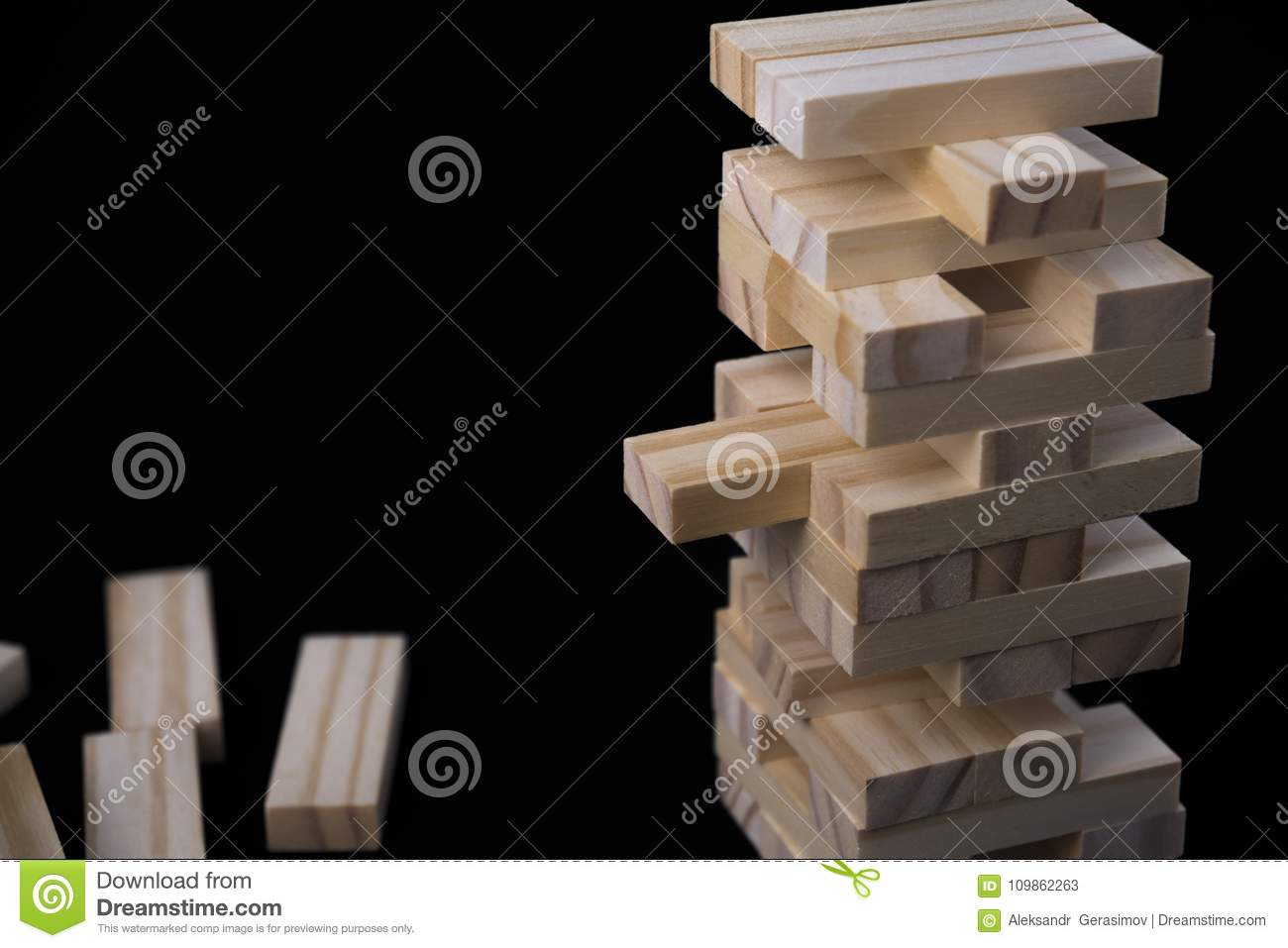 Tower From Wooden Blocks Toy With Black Background Learning And