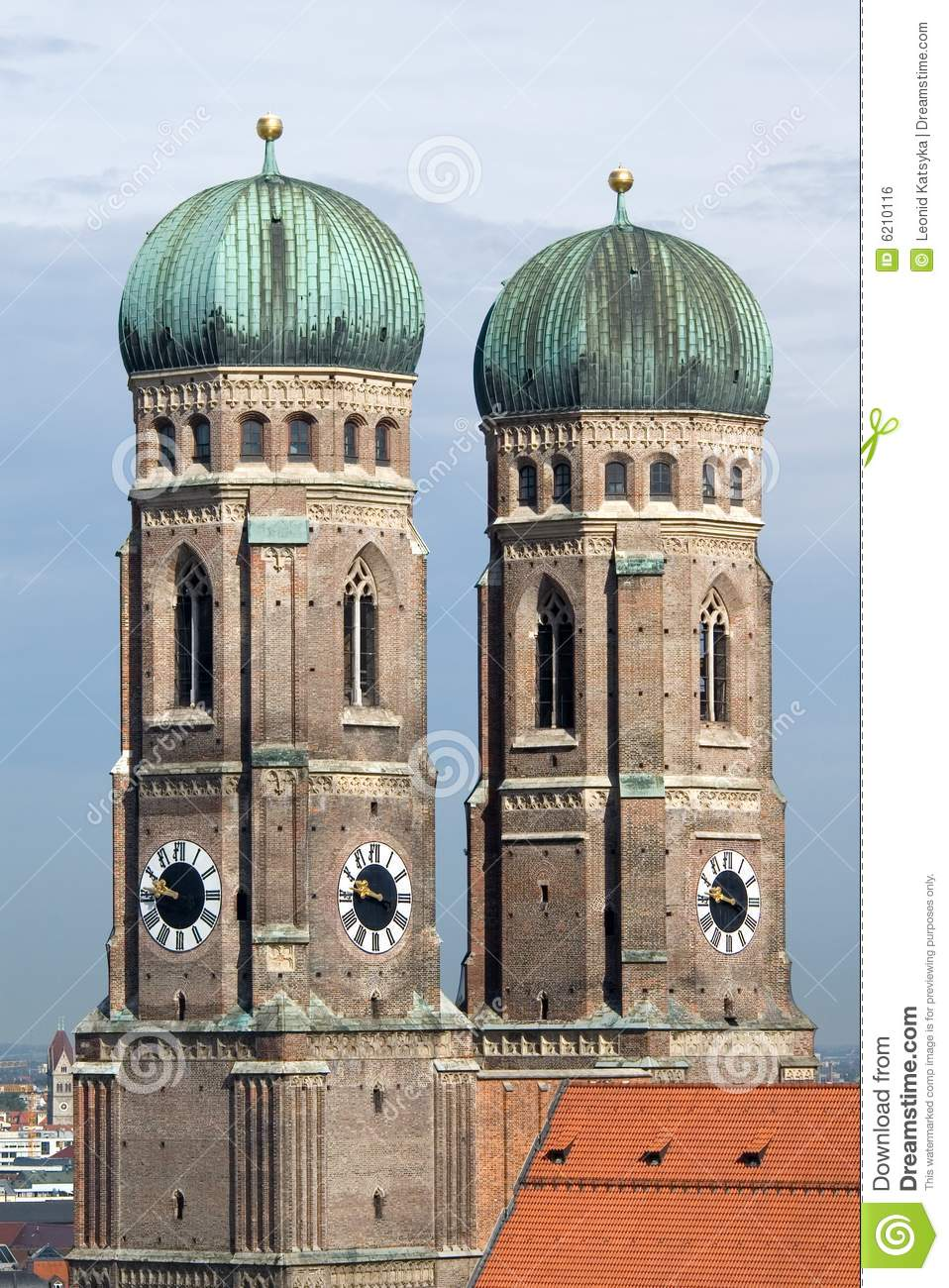 Towers Of Frauenkirche Cathedral Church In Munich Royalty