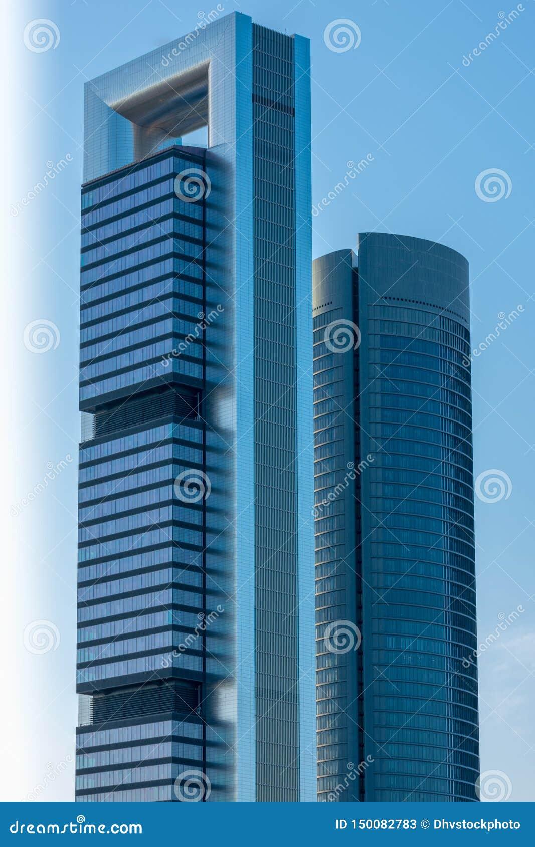 Towers in Madrid skyline, Spain