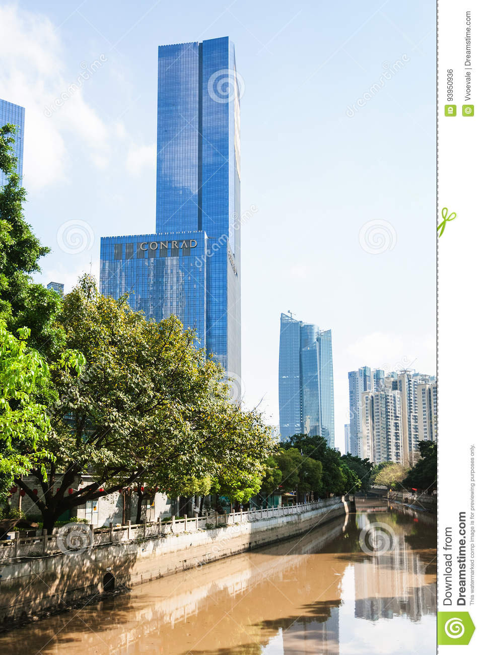 Towers On Quay In Guangzhou City In Spring Editorial Photo - Image