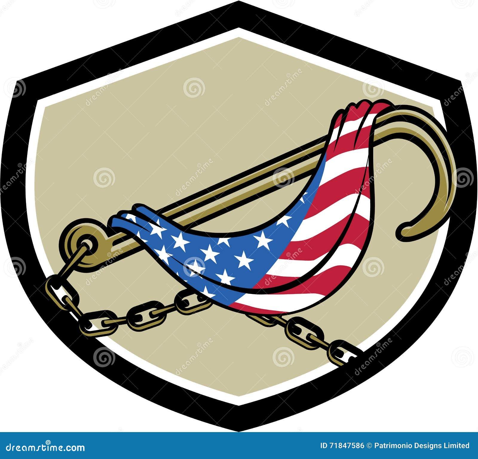 towing j hook flag draped shield retro stock vector illustration