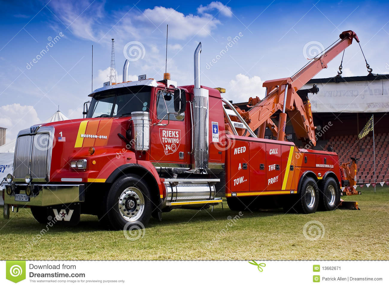 Towing And Recovery Vehicle, With Hoist Crane Editorial ...