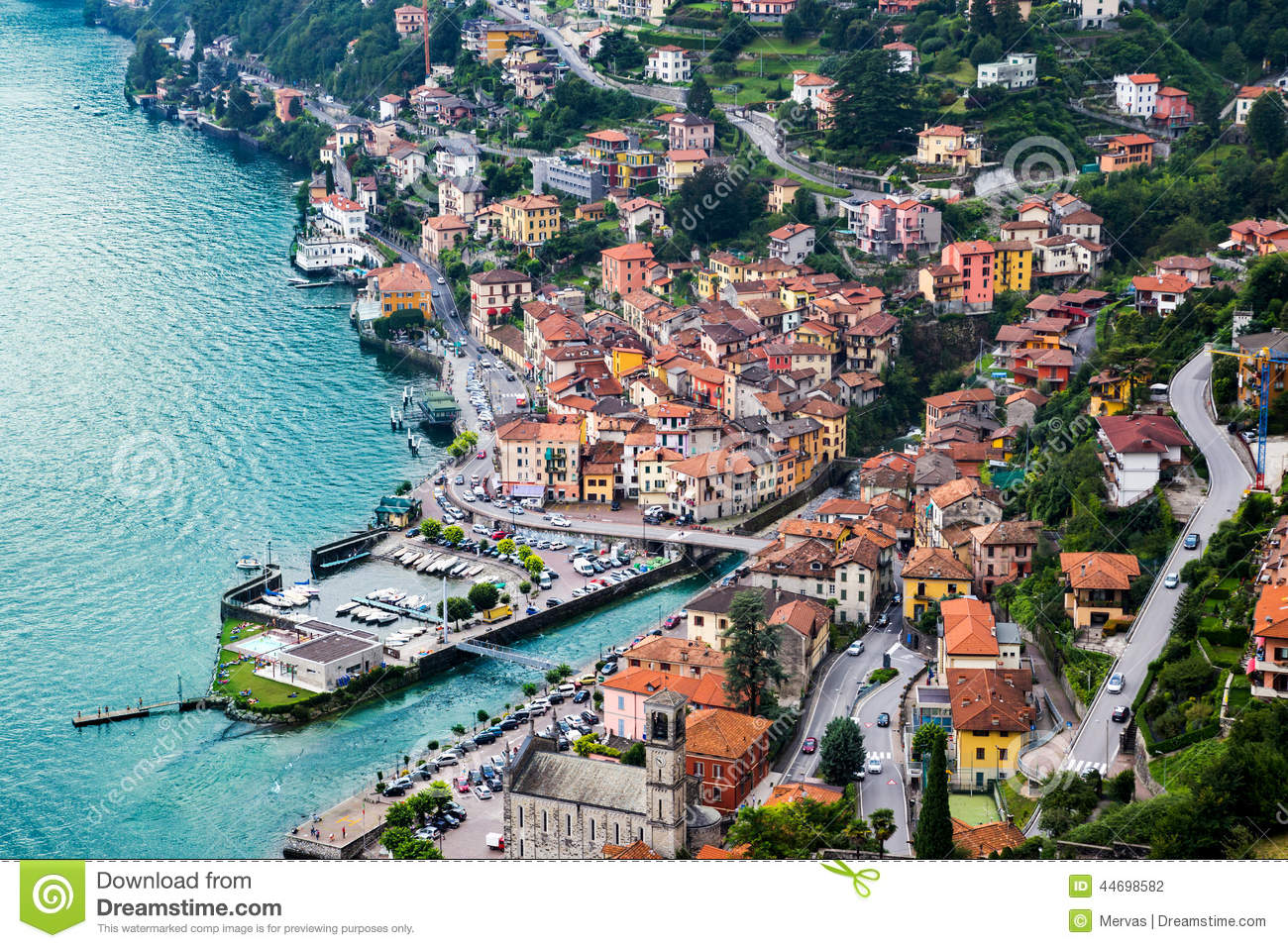 High resolution aerial view of the picturesque colorful Italian town ...