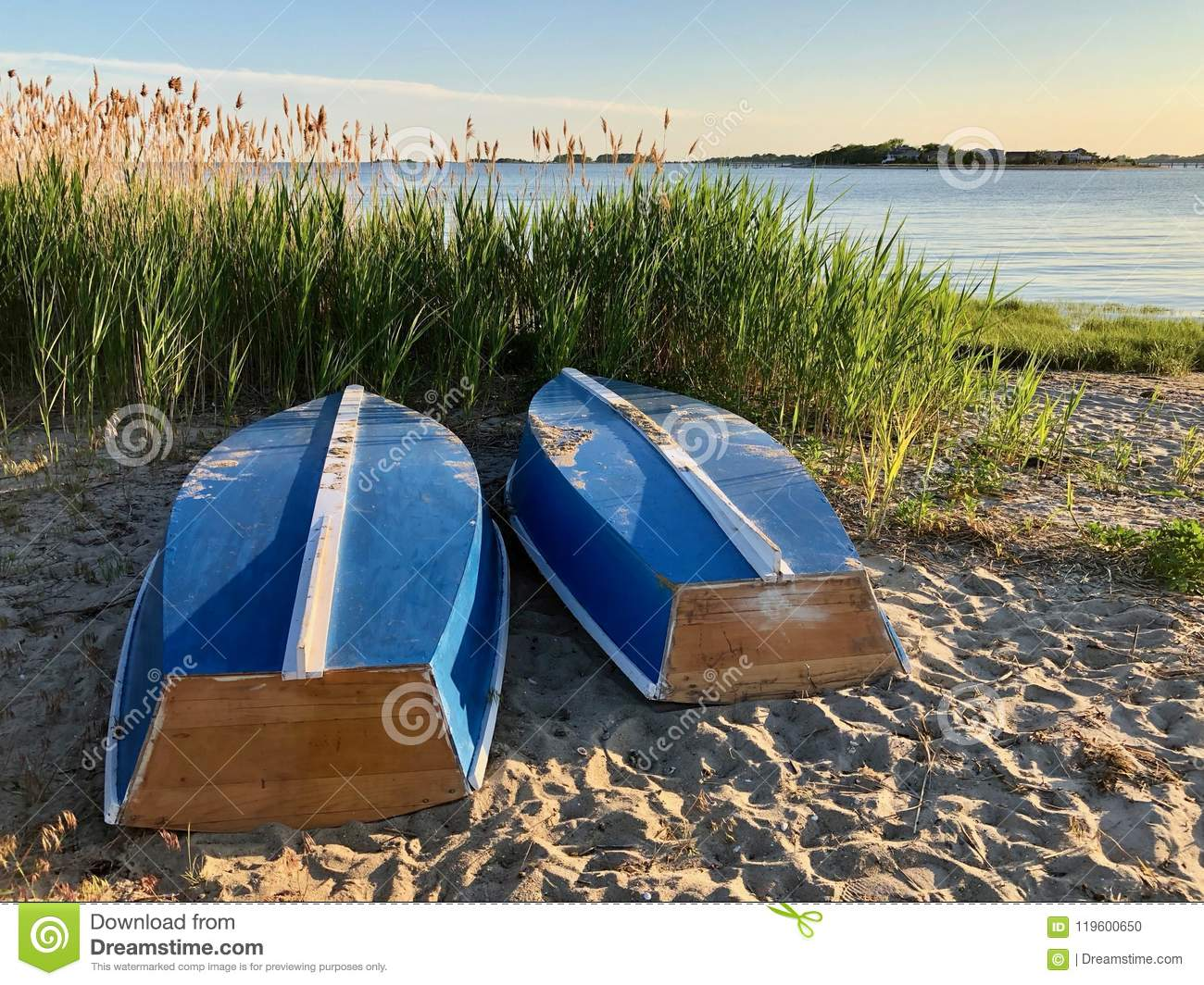 Town beach boats in repose
