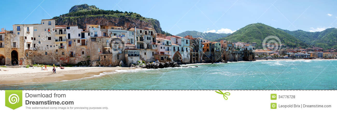 The town of Cefalu from the seaside
