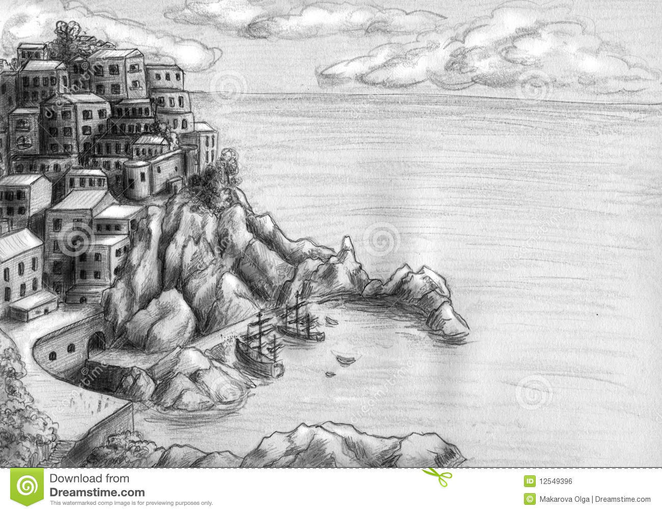 Town At The Cliff By Sea Royalty Free Stock Image
