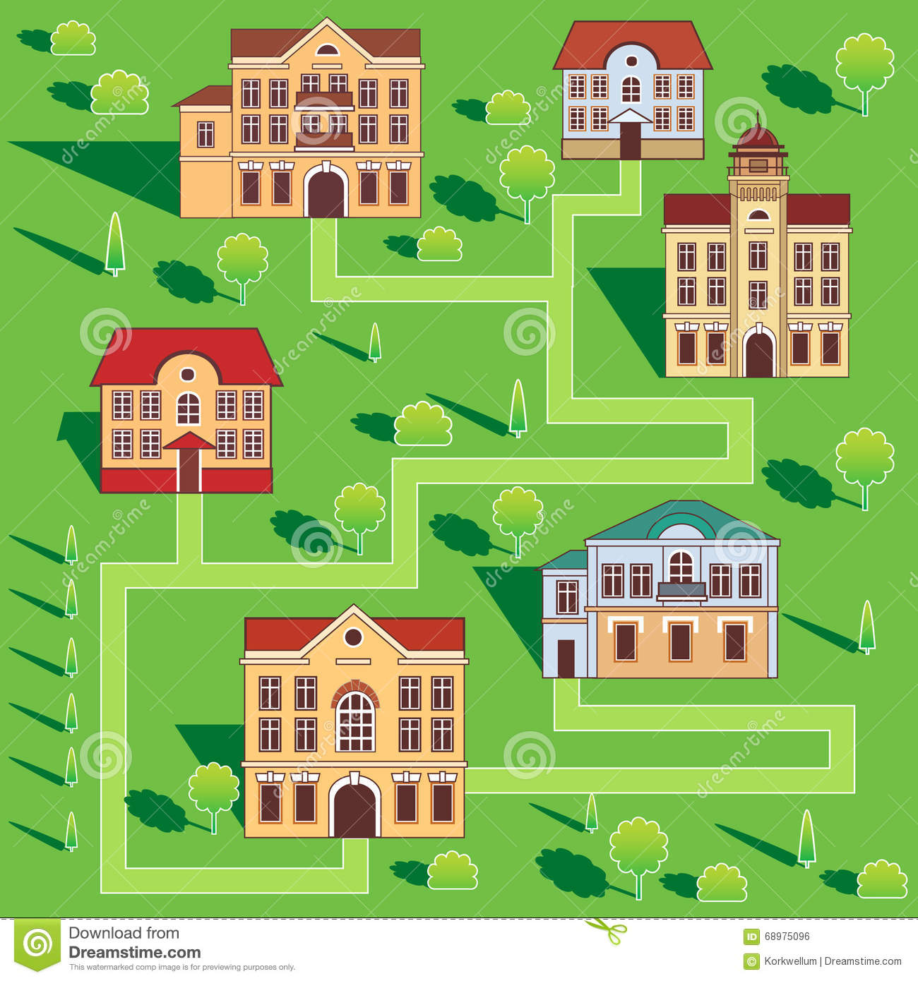 House For Rent Clip Art: Town With Colorful Houses. Seamless Pattern. Vector