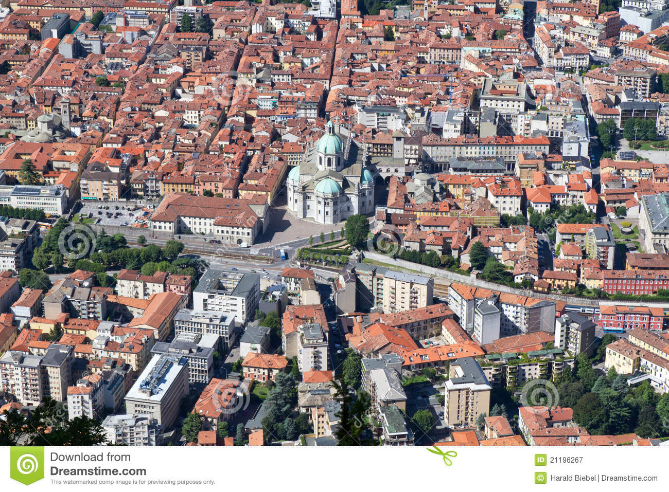 The town of Como, Italy, from above