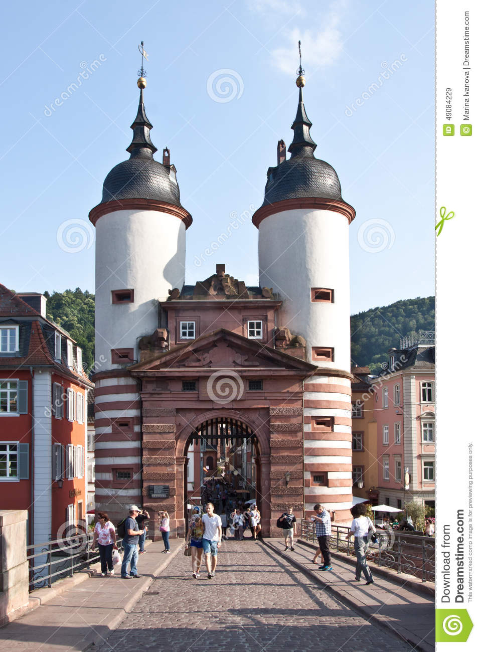 the town gates in heidelberg in germany editorial stock image image 49084229. Black Bedroom Furniture Sets. Home Design Ideas