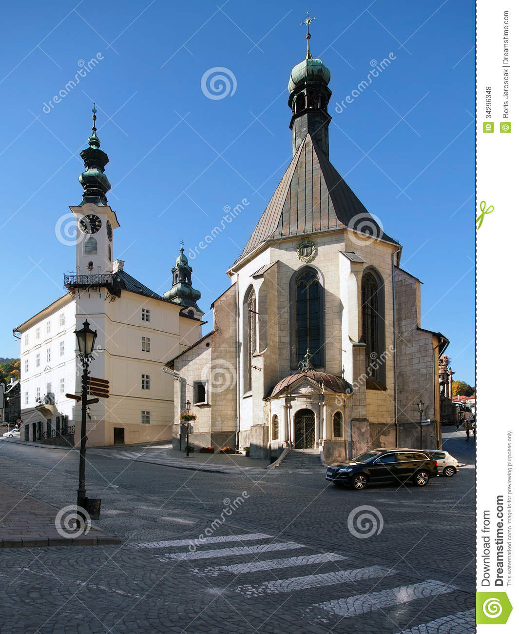 Town hall and Church in Banska Stiavnica
