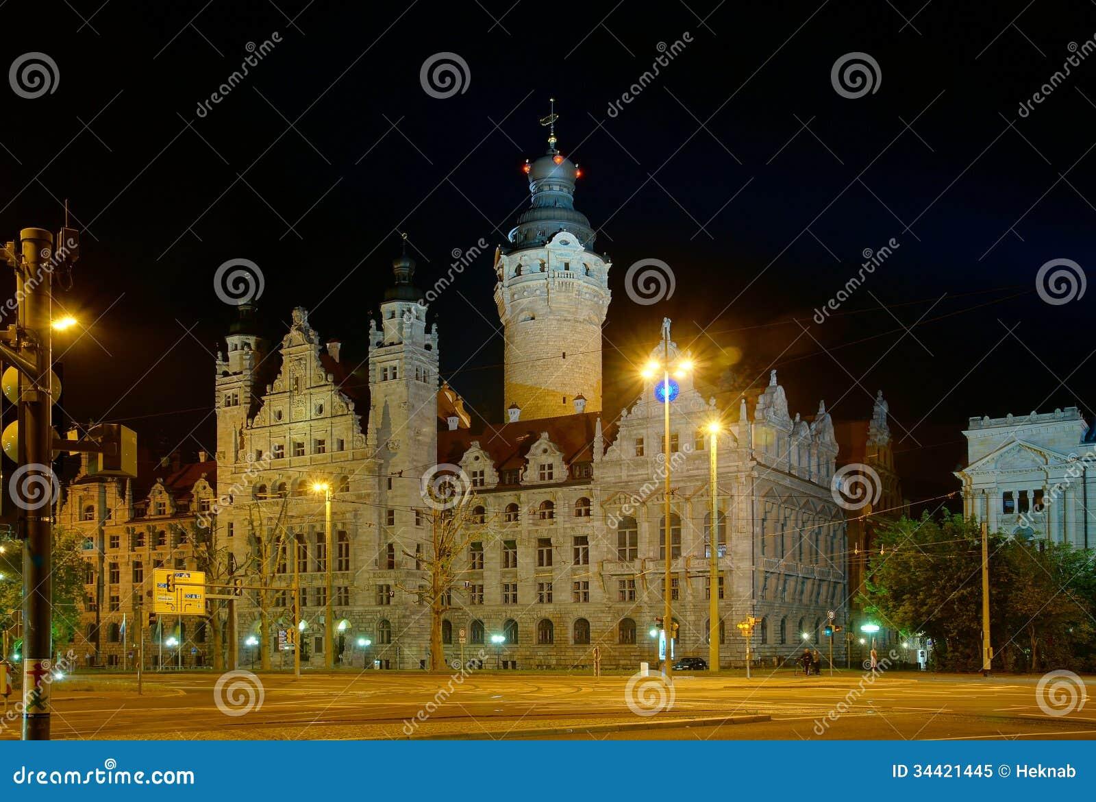 Town Hall In Leipzig Stock Image Image Of Illuminated 34421445