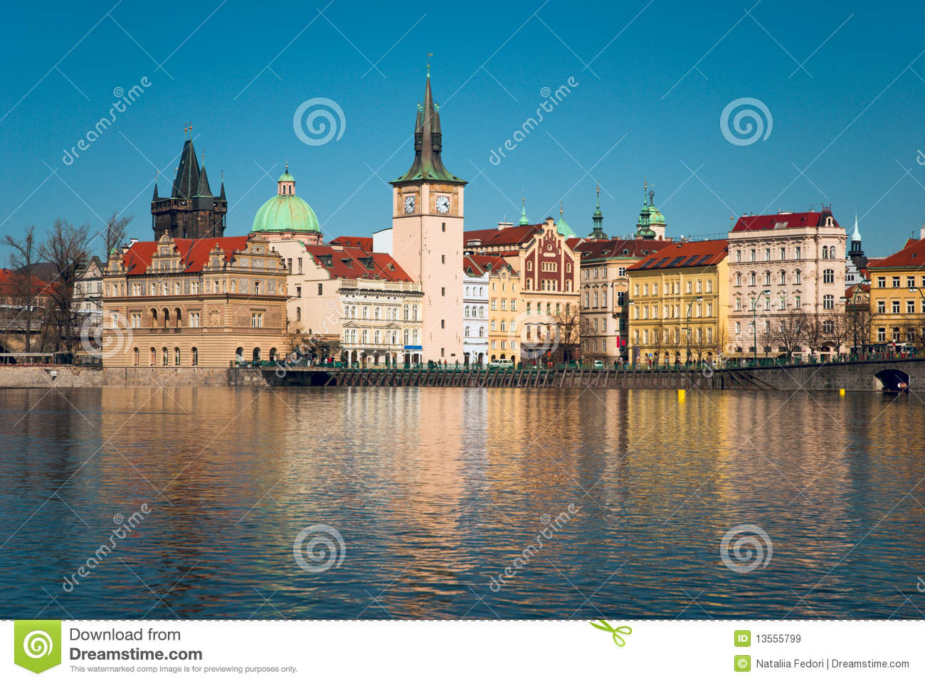 Town hall near the vltava river royalty free stock images for Where is prague near