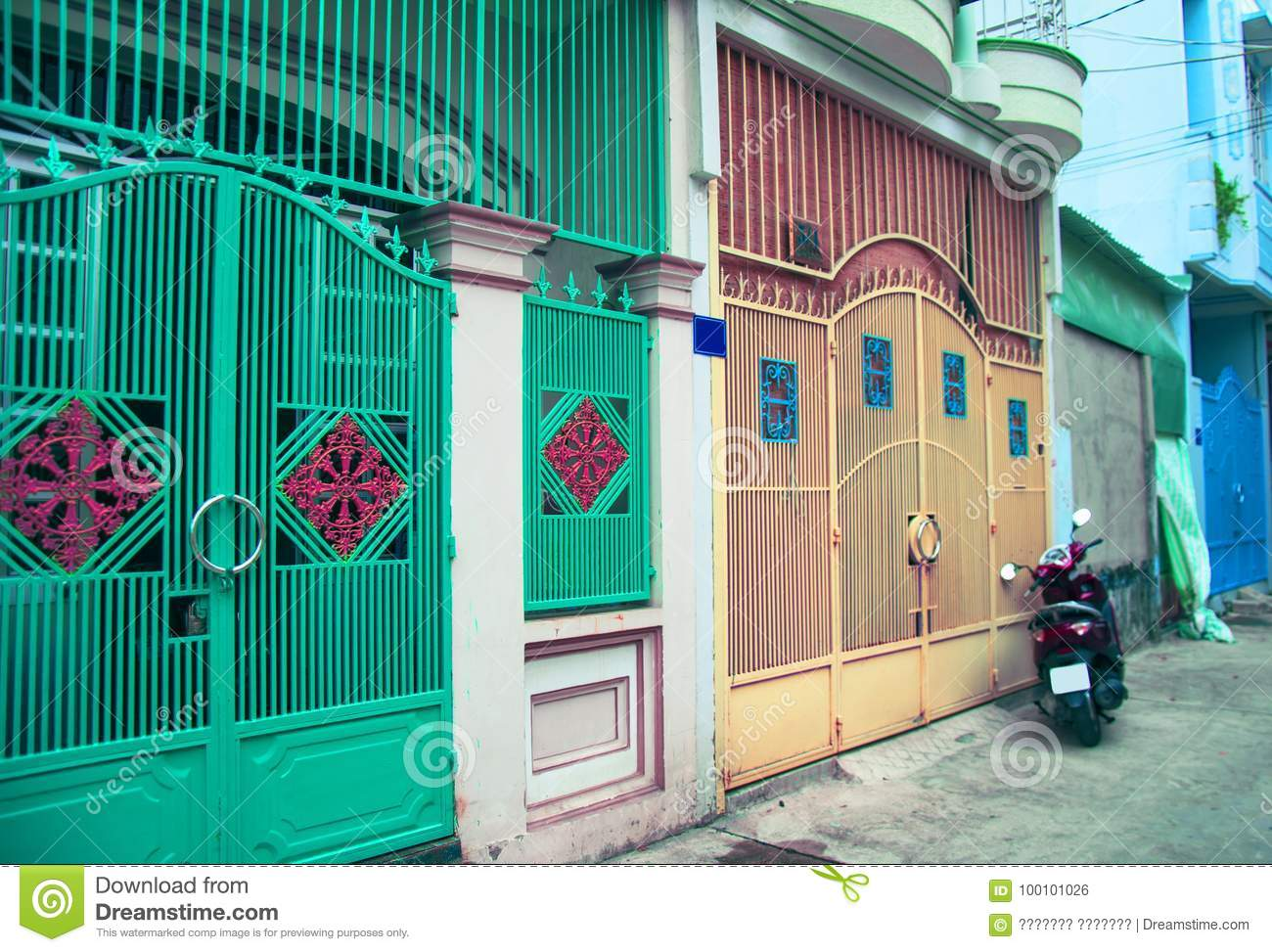 Town House In Vietnam The Mysterious Door A Bright Fence Stock Photo Image Of Traditional Bicycle 100101026