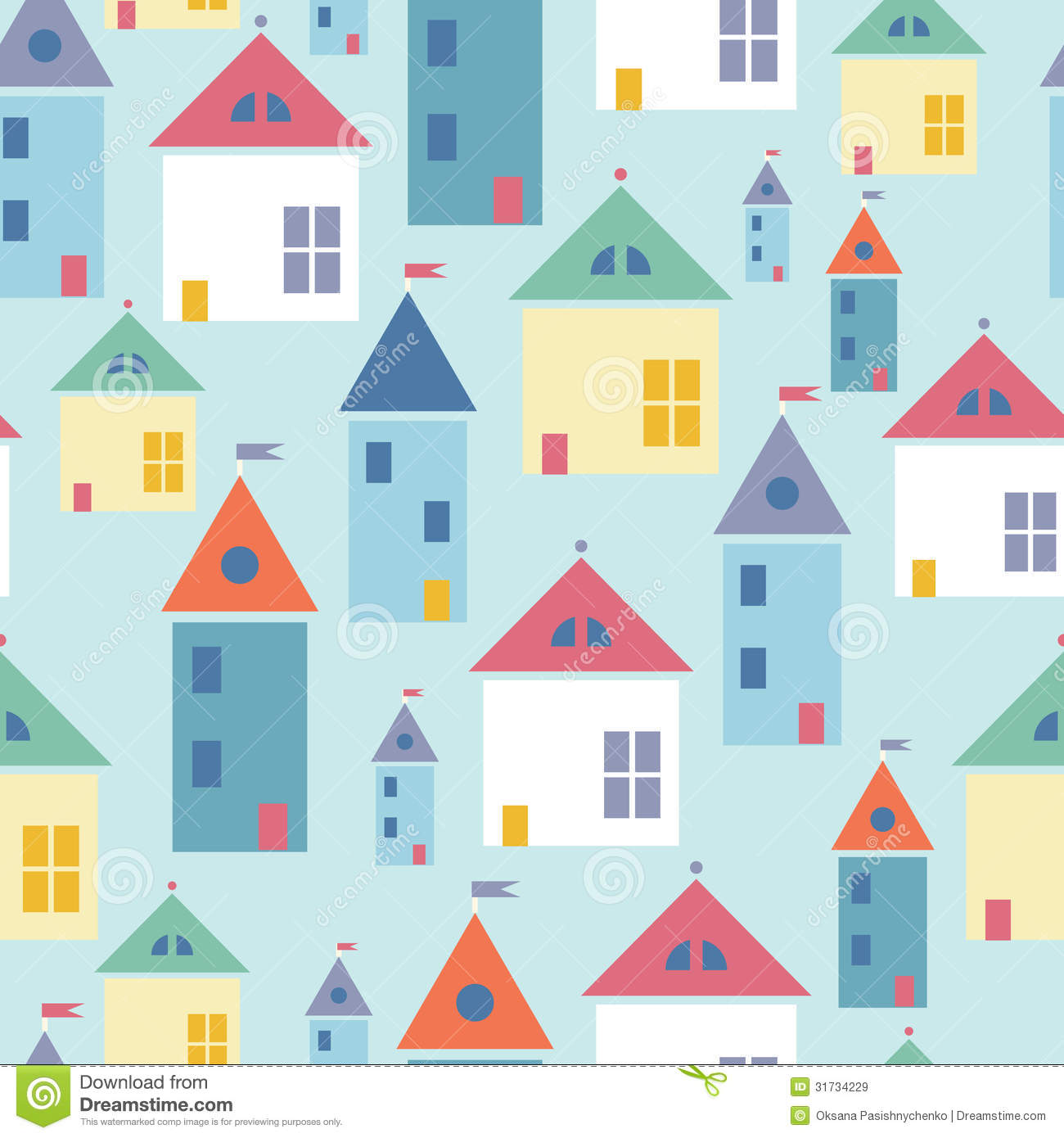 Town Houses Seamless Pattern Background Stock Vector