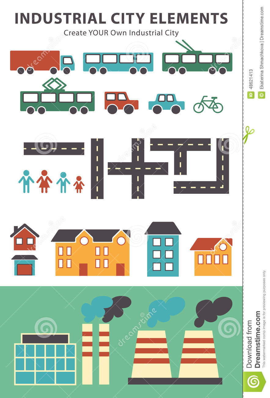 Town Infographic Elements. Vector City Elements For Create ...