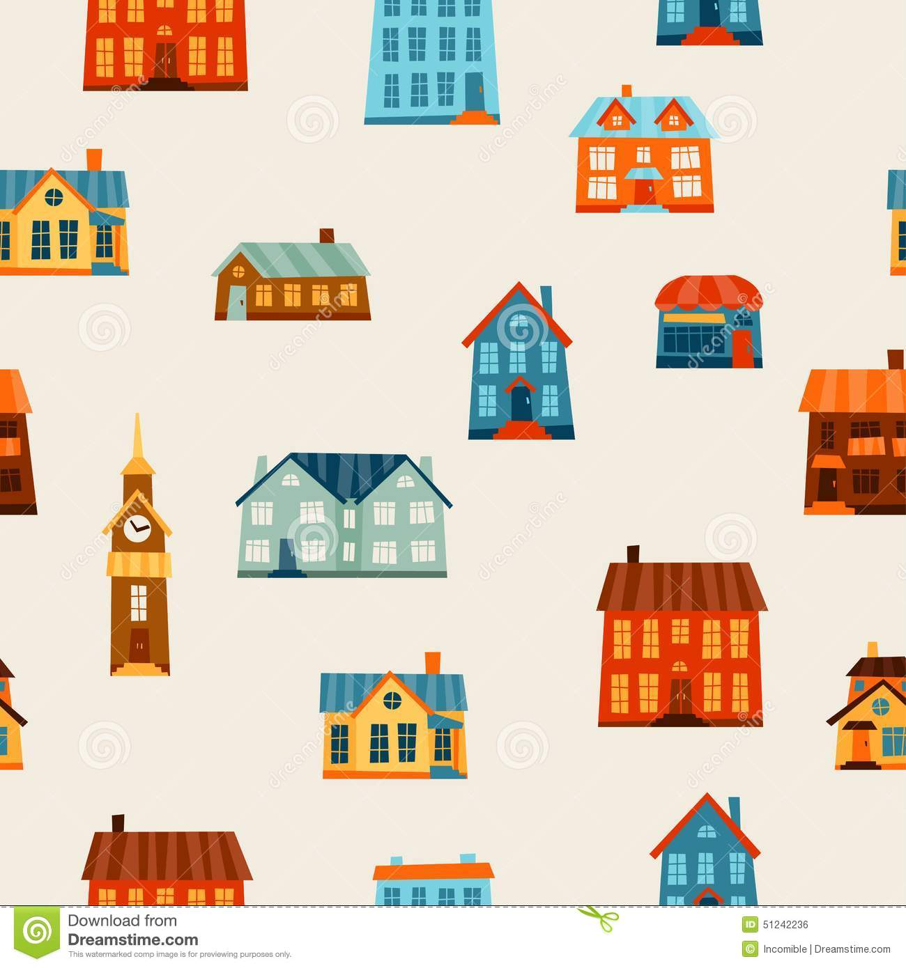 Town seamless pattern with cute colorful houses