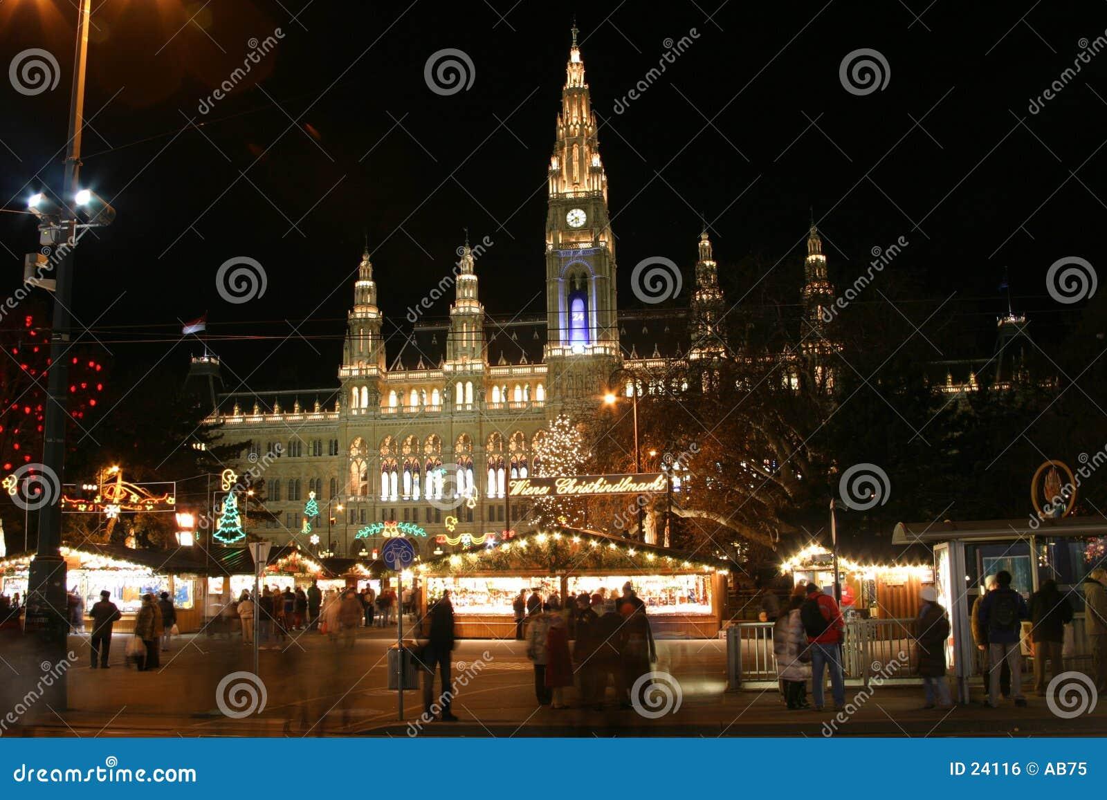 Town vienna för julkorridornighttime