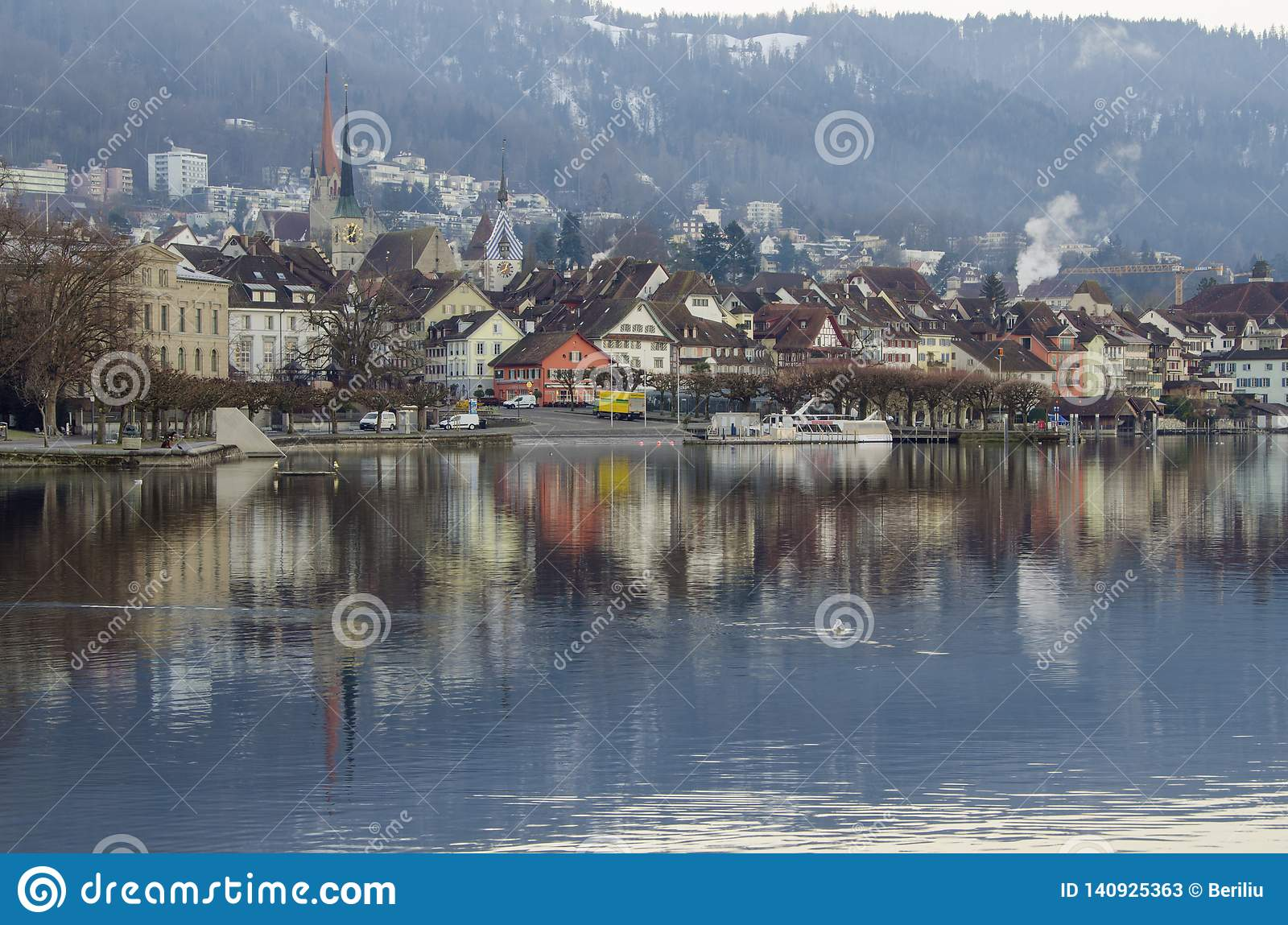 Town of Zug, Switzerland stock image. Image of pier - 140925363
