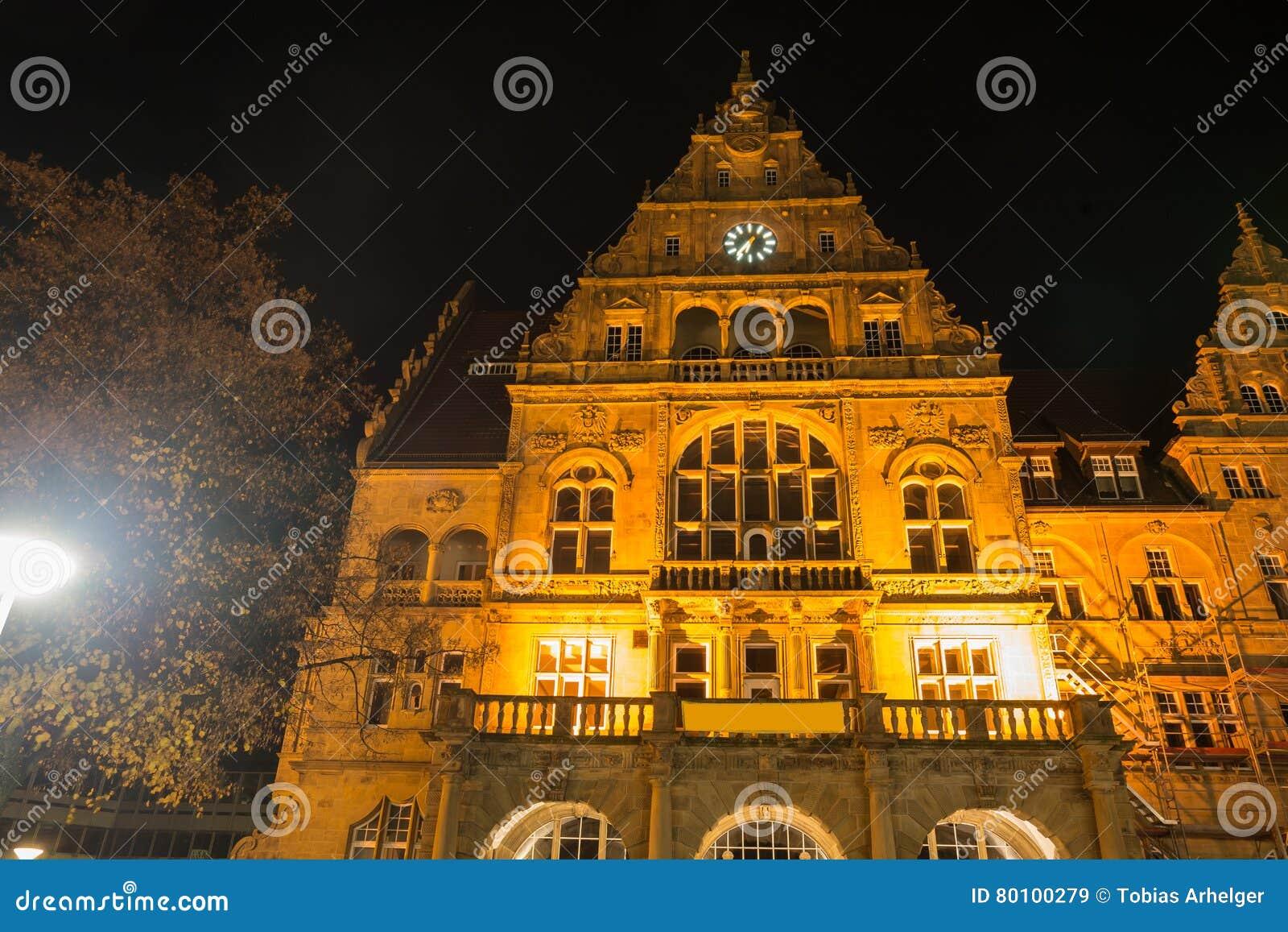 Townhall bielefeld Alemanha na noite