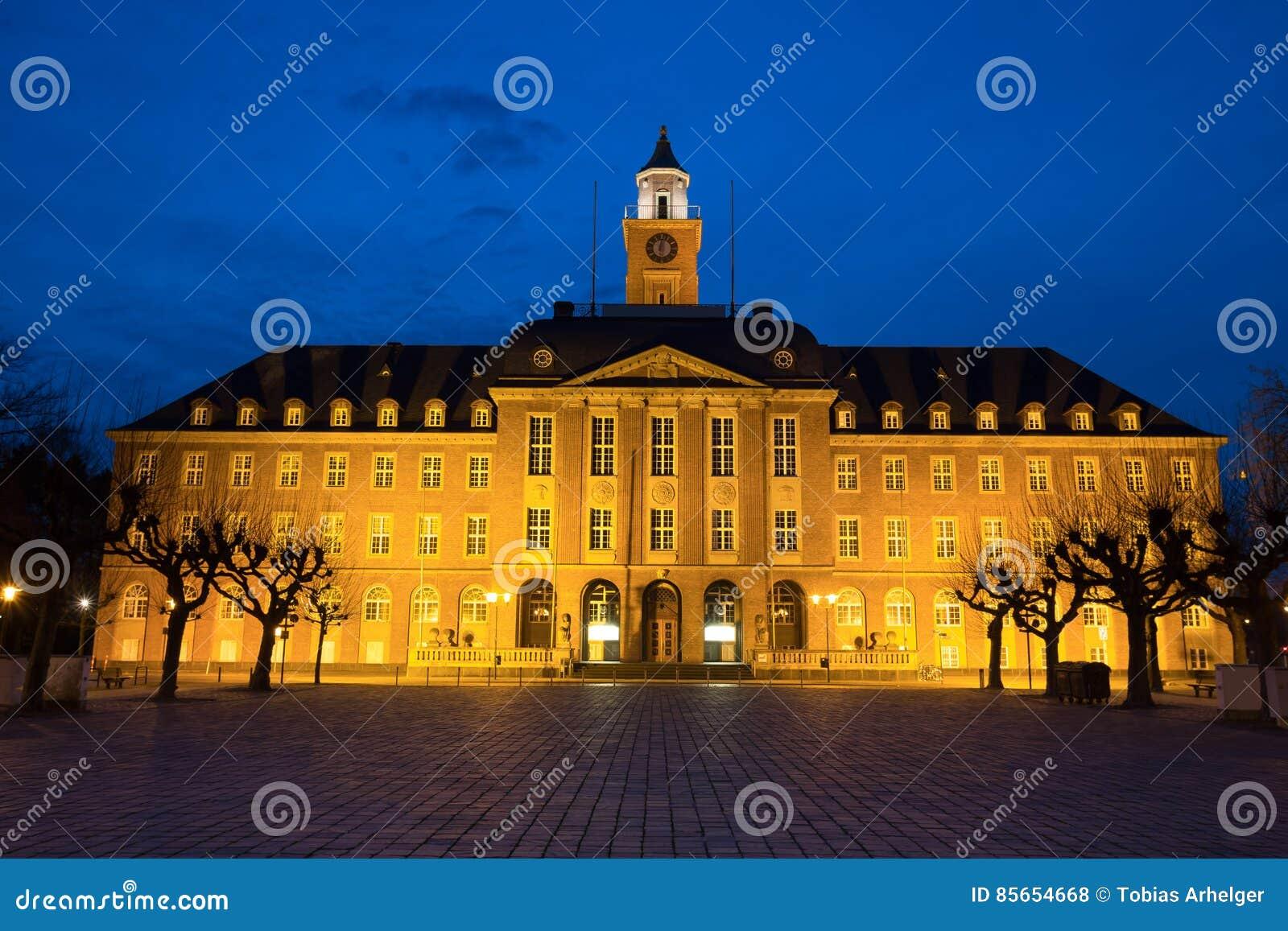 Townhall Herne Allemagne la nuit