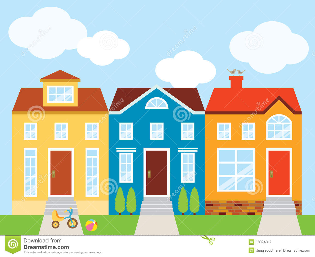 Townhouses Stock Vector Illustration Of Illustration