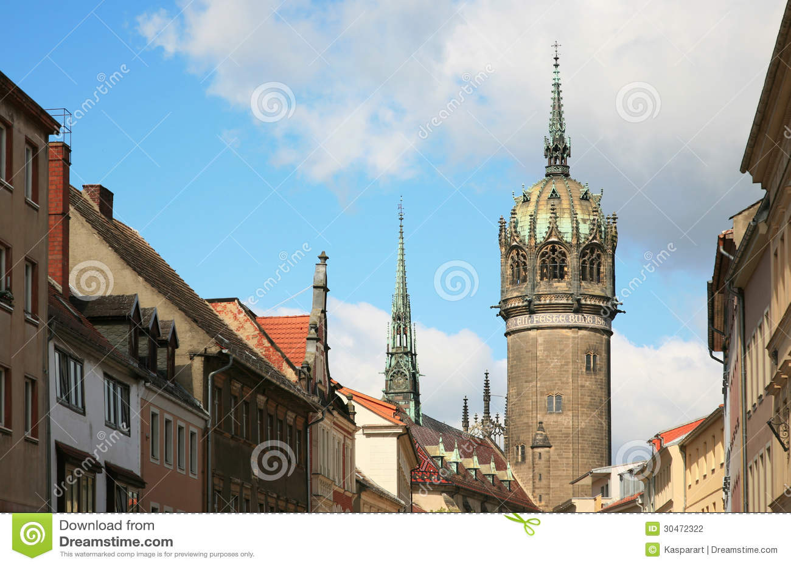 Townscape del Lutherstadt Wittenberg en Alemania