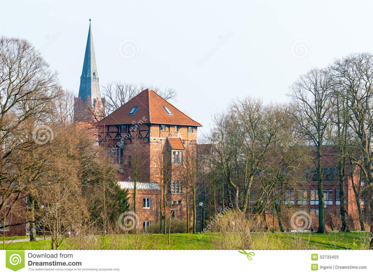 Townscape Nienburg at the river Weser