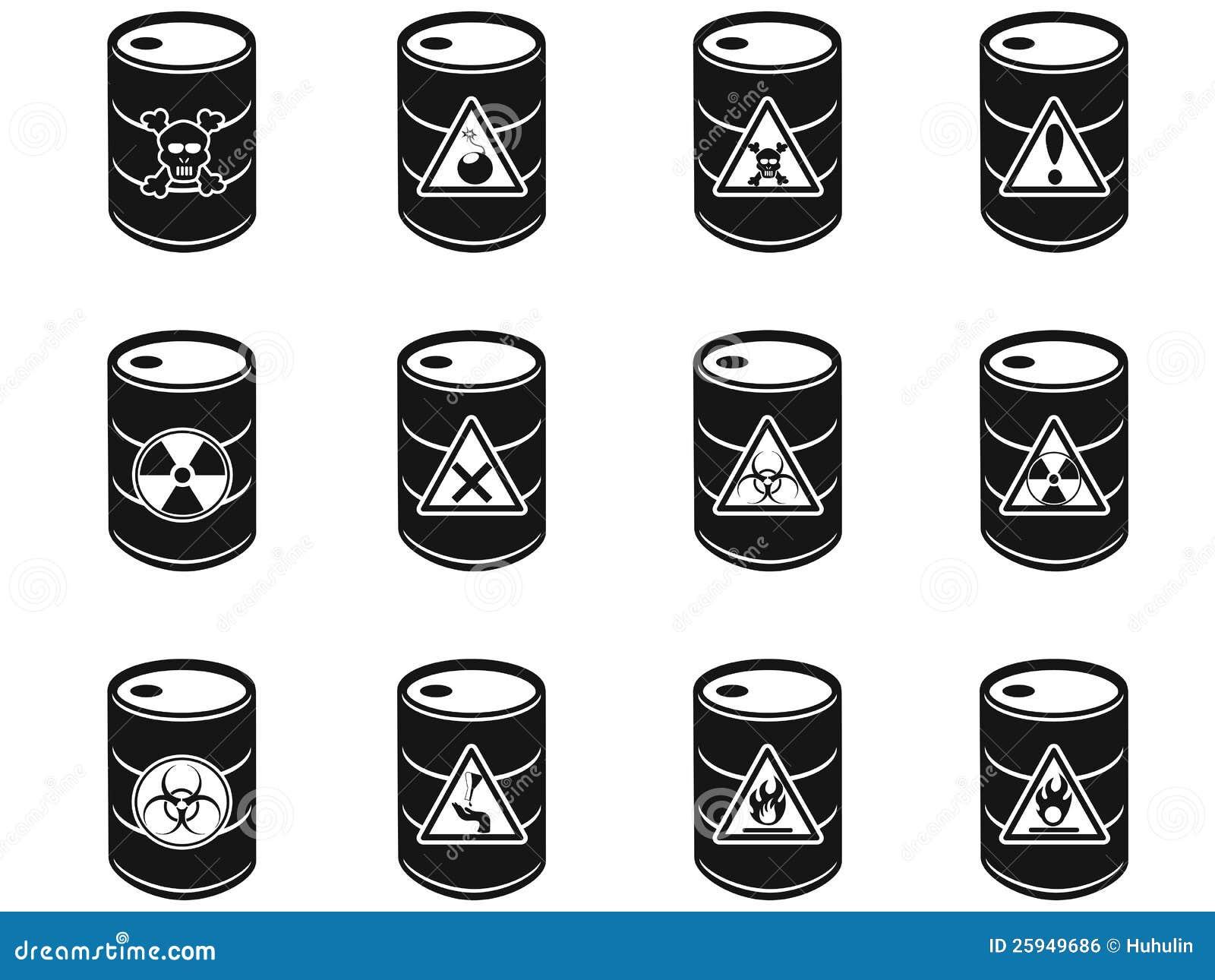 Toxic Hazardous Waste Barrels Icon Royalty Free Stock