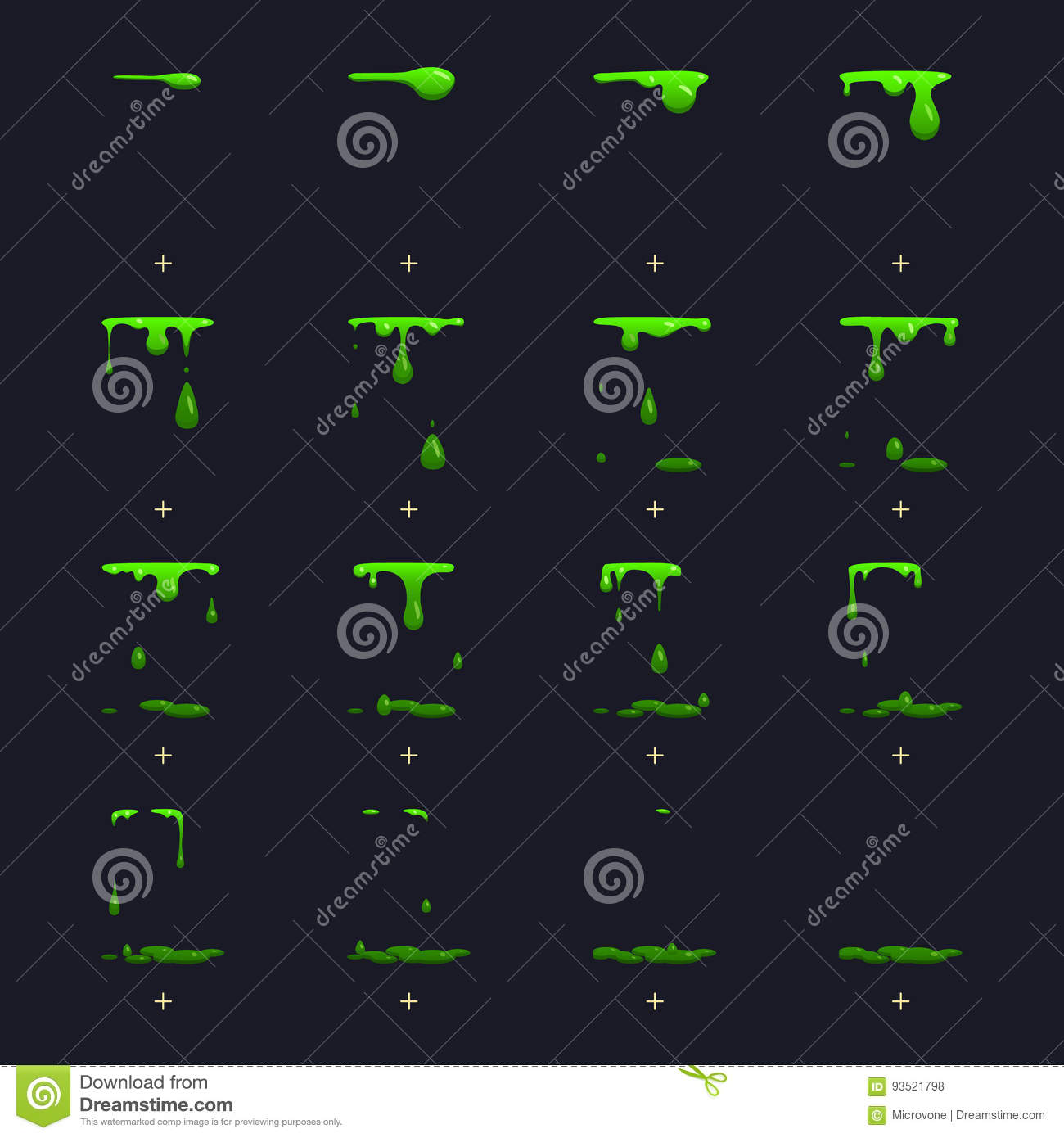 Toxic waste, dripping green slime vector animation sprite