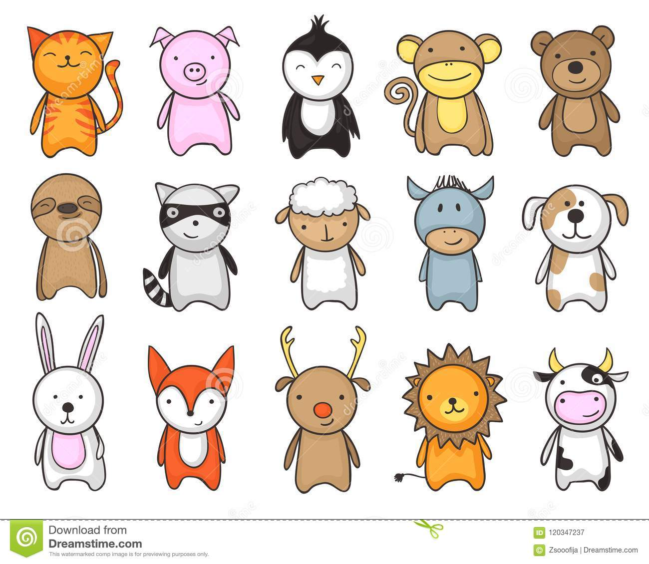 Toy Animals Cartoon Set For Children Stock Vector Illustration Of