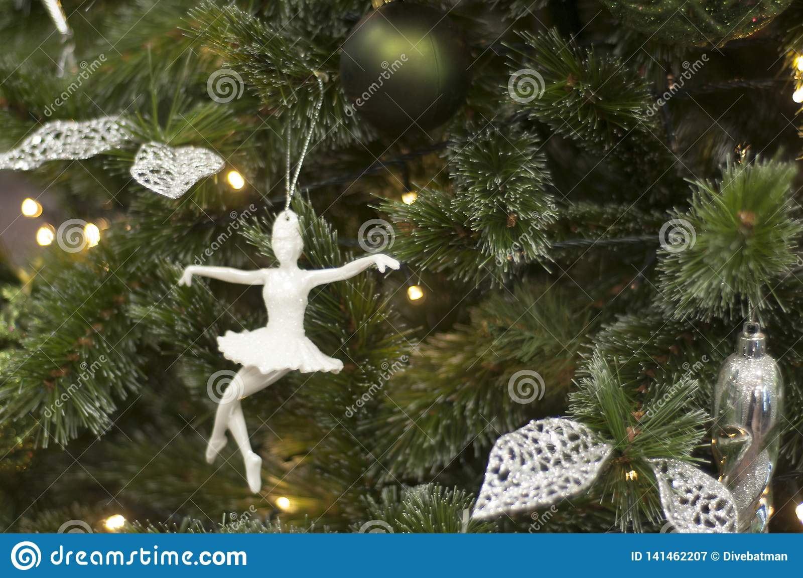 Toy Ballerina On Christmas Tree New Year Decoration Stock Image