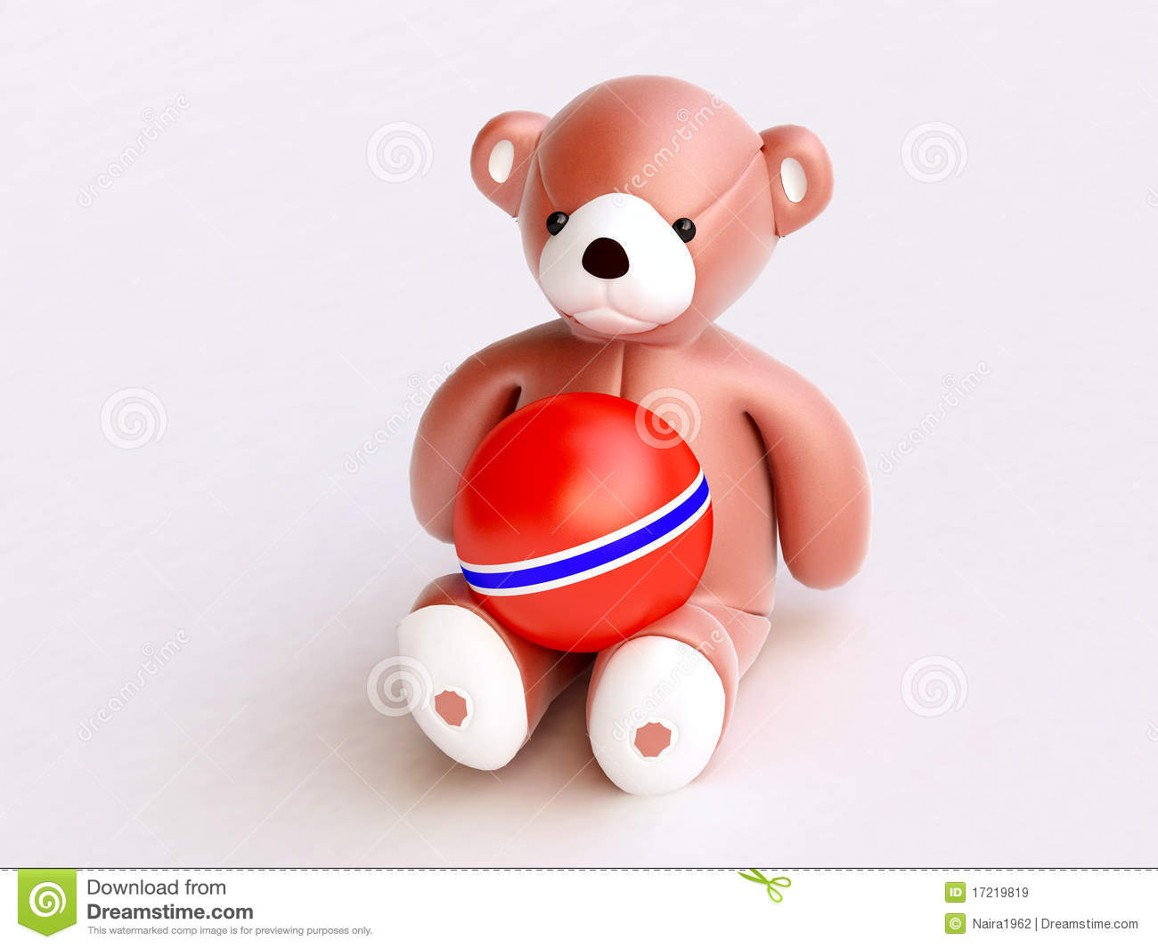 Red Ball Toy : Toy bear with red ball on knees royalty free stock images