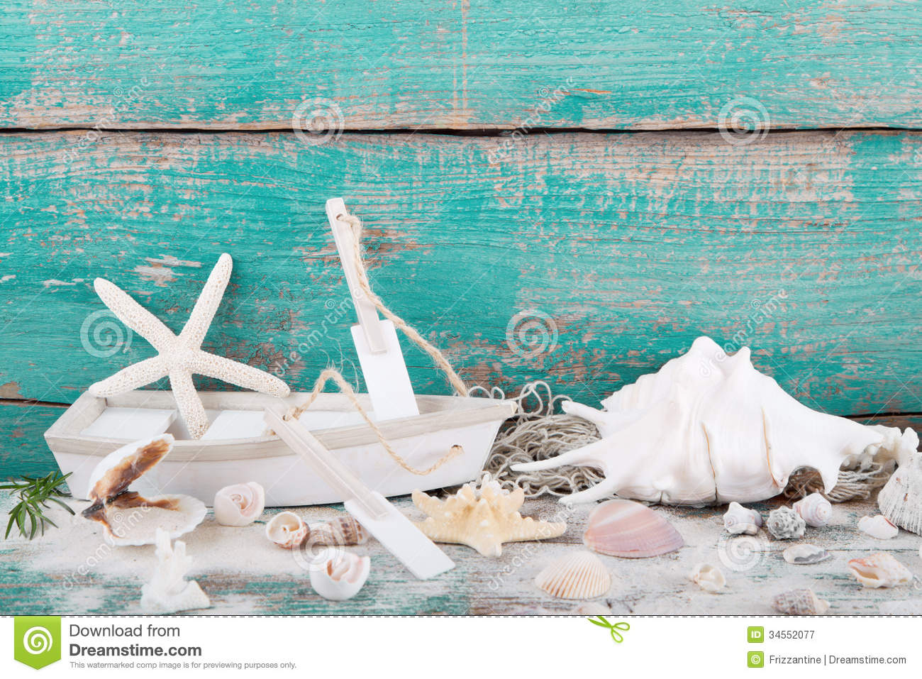 Toy Boat With Starfish And Seashells With A Wooden Turquoise Bac Royalty Free Stock Photography ...