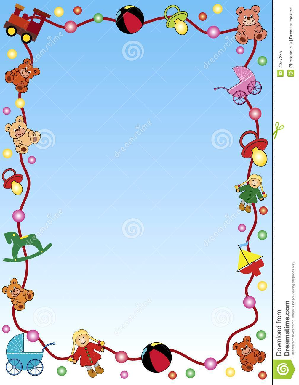 with a colorful border out of baby toys. For advertising, invitations ...