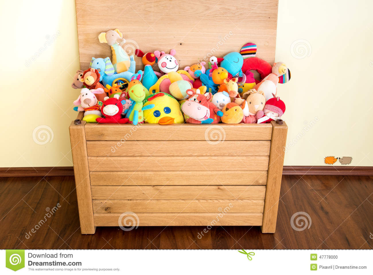 Toy Box Full Of Soft Toys Stock Photo - Image: 47778000