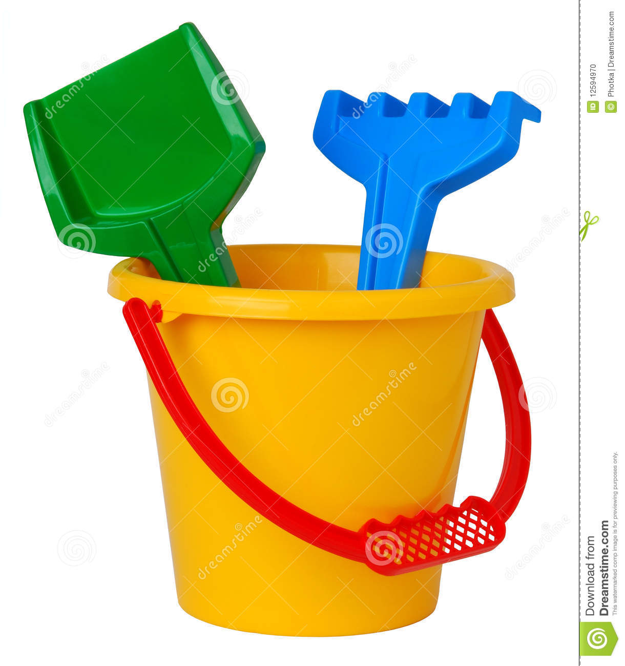 Toy plastic bucket with shovel and rake isolated on white background.