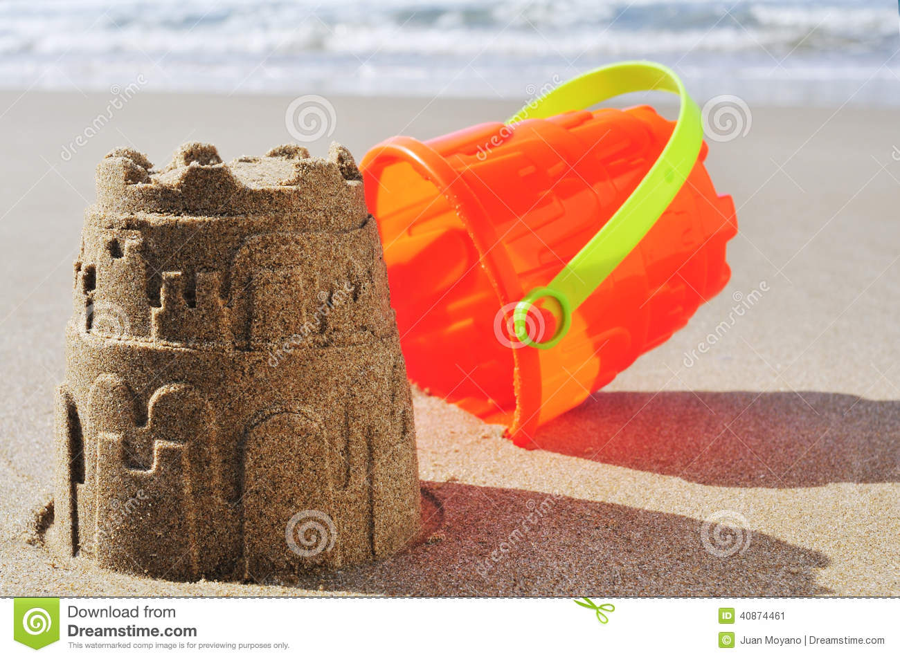 Download Toy Bucket Sandcastle On The Sand Of A Beach Stock Image - Image of happy, colors: 40874461