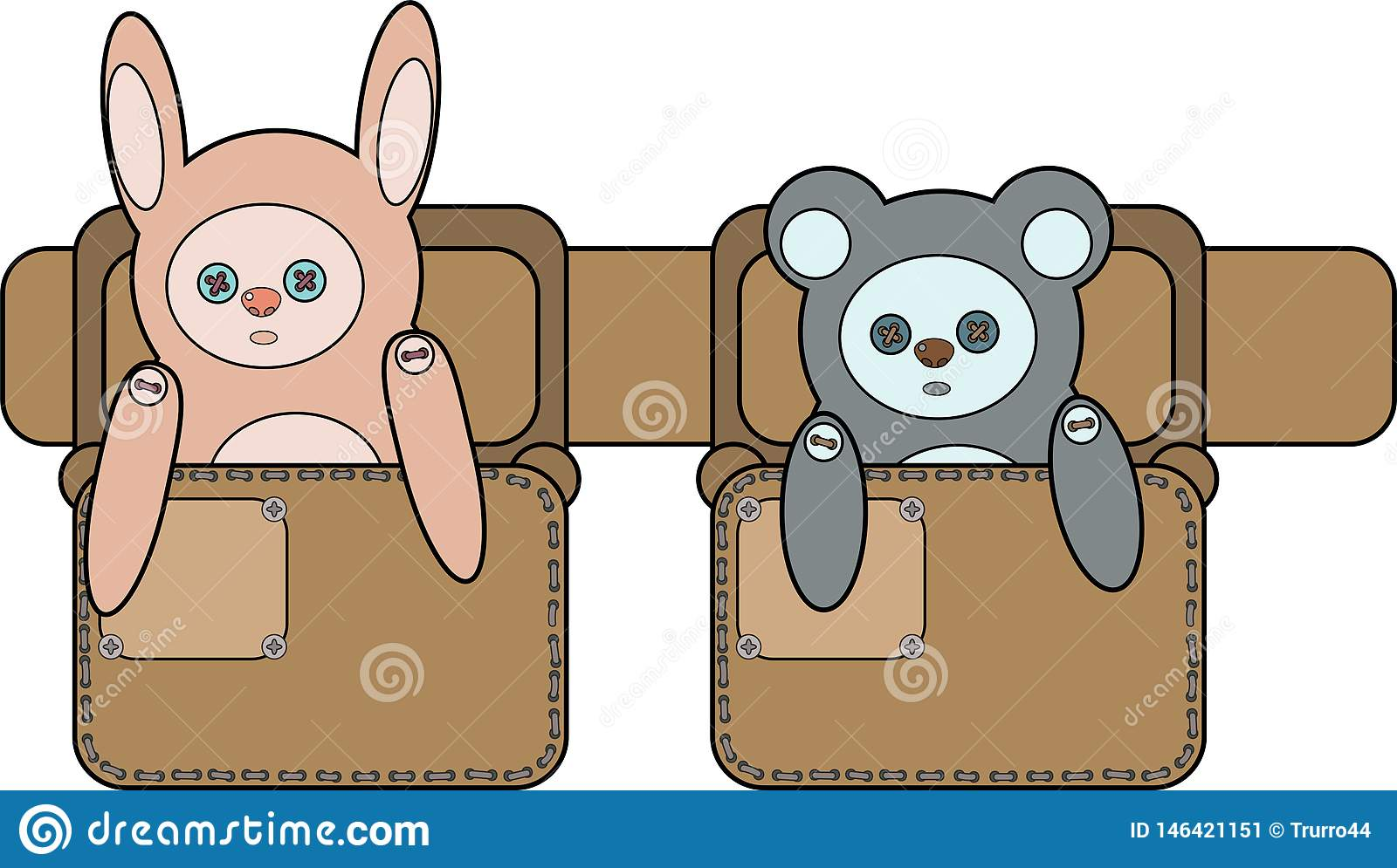 A toy Bunny and bear the bags on the belt