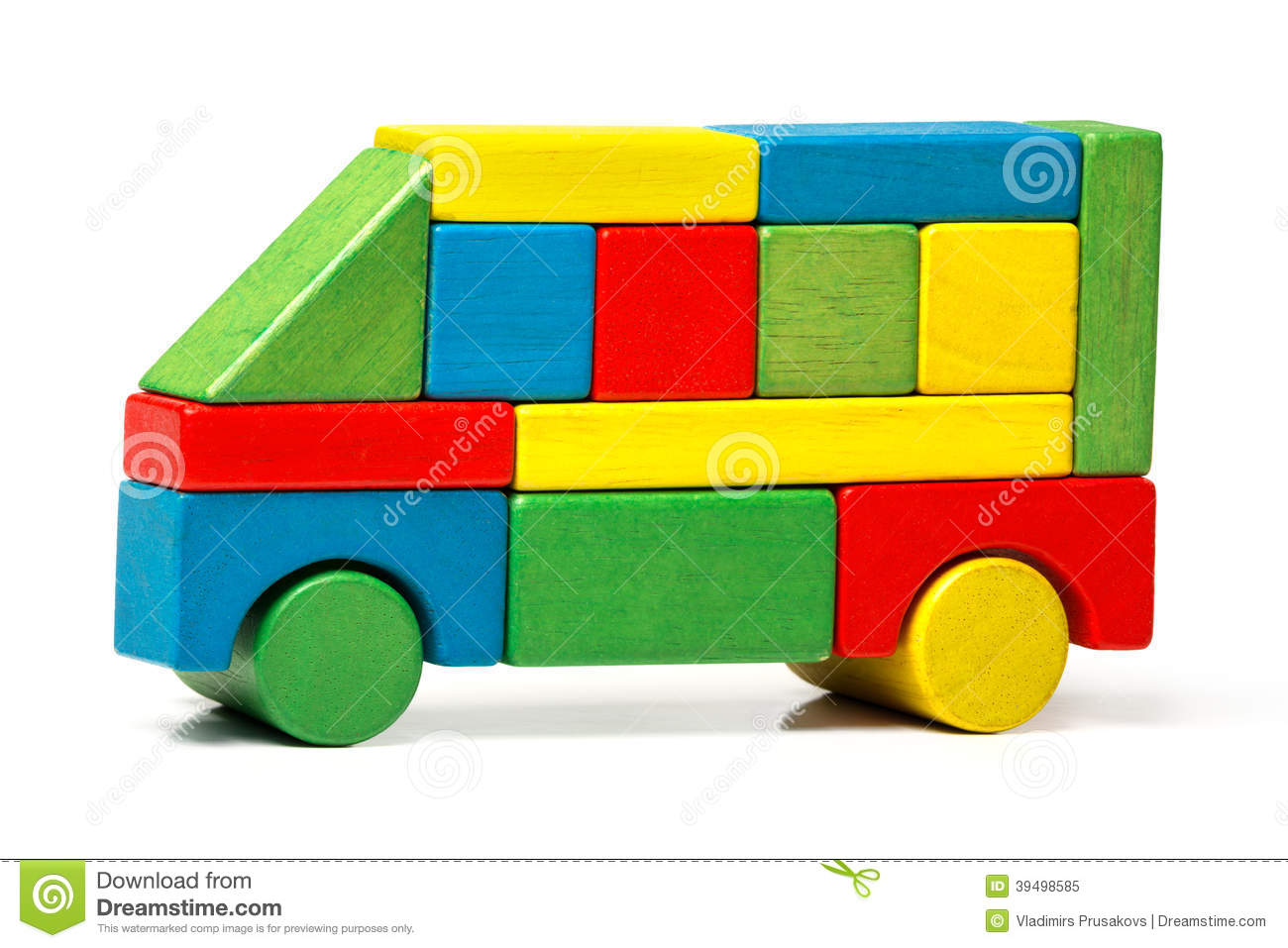 Toy bus, multicolor car wooden blocks, transport over white background ...