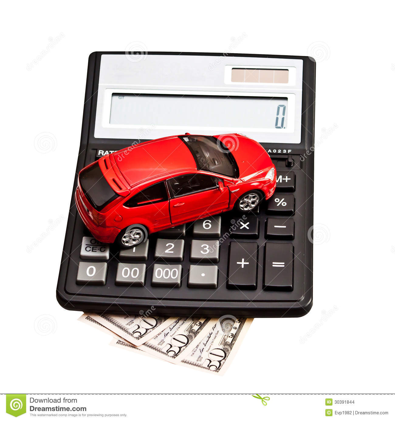 toy car and calculator over white stock photo