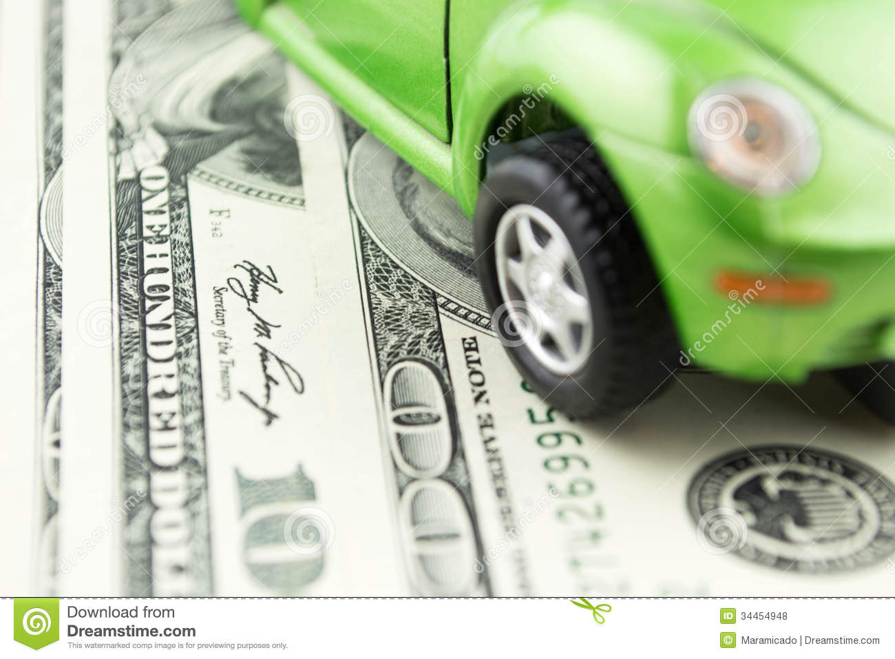 toy car and money over white rent buy or insurance car concept royalty free stock photos. Black Bedroom Furniture Sets. Home Design Ideas