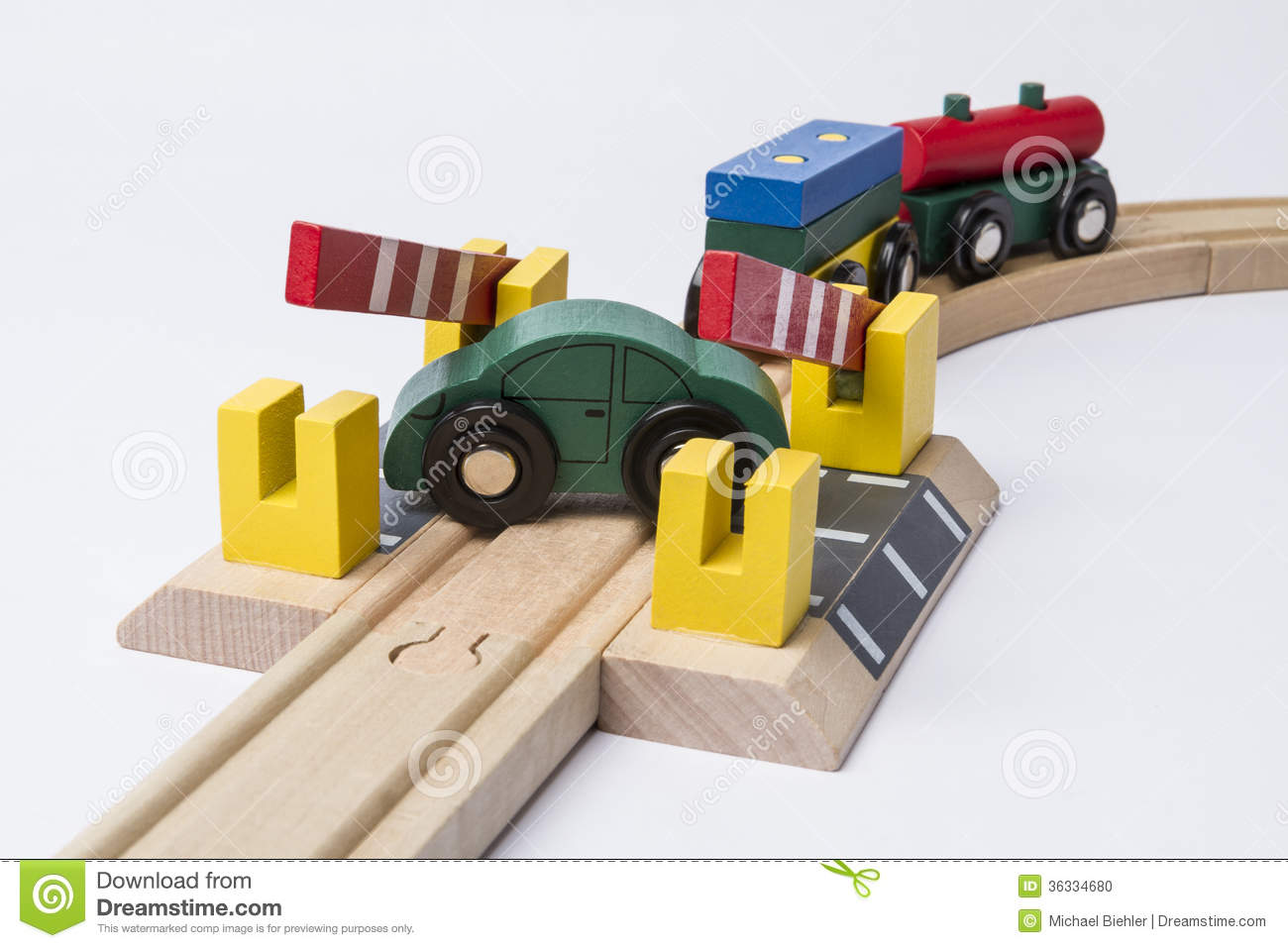 Toy Car On Railroad Crossing Stock Photo - Image of lumber