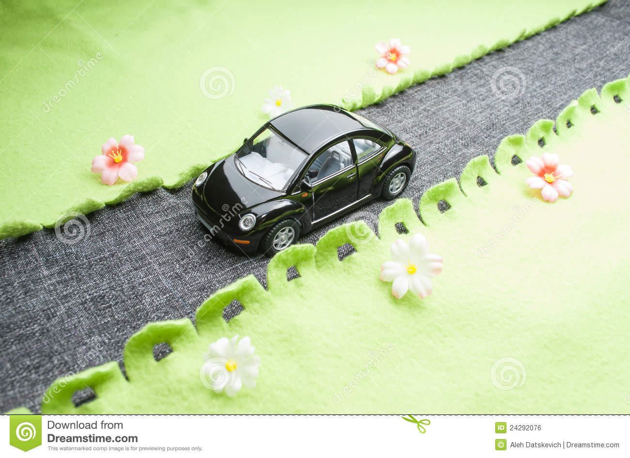 Fabric Roads For Toy Cars : Toy car on the road royalty free stock image