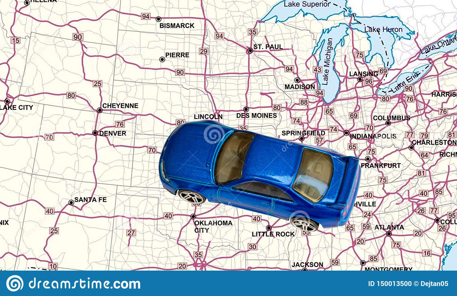 Toy Car On A Road Map Of United States Stock Photo - Image ...
